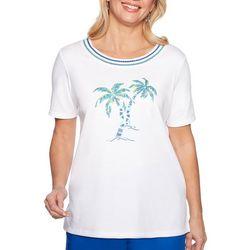 Alfred Dunner Petite Waikiki Embellished Palm Tree Top