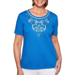 Alfred Dunner Petite Waikiki Embroidered Damask Top