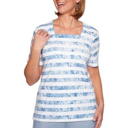 Alfred Dunner Petite Monterey Embroidered Tie Dye Stripe Top