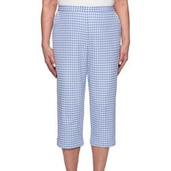 Alfred Dunner Petite Summer Wind Gingham Pull On Capris