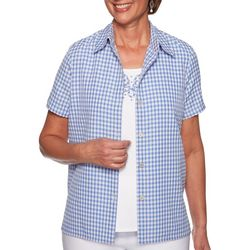 Alfred Dunner Petite Summer Wind Gingham Duet Top