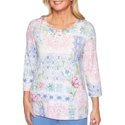 Alfred Dunner Petite Summer Wind Embroidered Patchwork Top