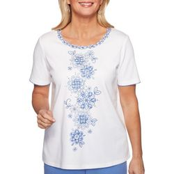 Alfred Dunner Petite Summer Wind Floral Applique Top