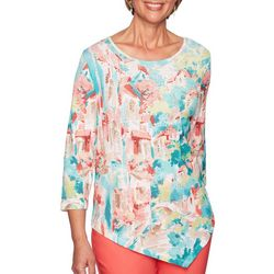 Alfred Dunner Petite Costal Drive Bling Scenic Top