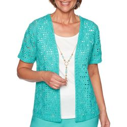 Alfred Dunner Petite Coastal Drive Textured Lace Duet