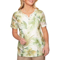 Alfred Dunner Petite Santa Fe Abstract Leaves Top