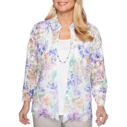 Alfred Dunner Petite Nantucket Floral Lace Duet Top