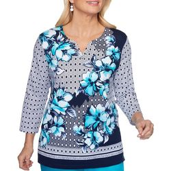 Alfred Dunner Petite Easy Street Floral Dot Top