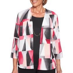 Alfred Dunner Petite Finishing Touch Geo Print Duet Top