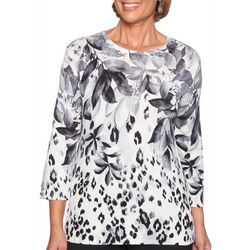 Alfred Dunner Petite Falling Leaves Embellished Top