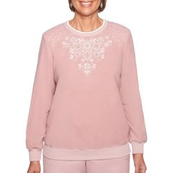 Alfred Dunner Petite Home For The Holidays Embroidery Top