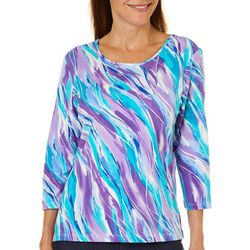 Alfred Dunner Petite Diagonal Wave Top