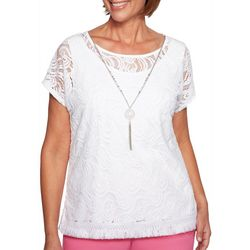 Alfred Dunner Petite Palm Coast Necklace & Lace Top