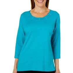 Alfred Dunner Petite Classics Solid Braid Neck Top