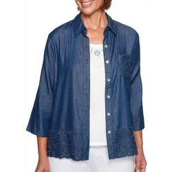 Alfred Dunner Petite Greenwich Hills Chambray Top