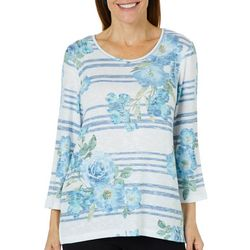 Alfred Dunner Petite Greenwich Hills Floral Striped Top
