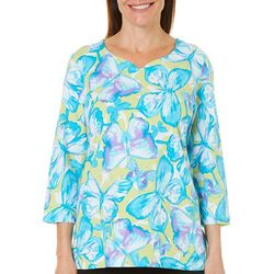 Alfred Dunner Petite Butterfly Effect Embellished Top