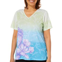 Alfred Dunner Petite Butterfly Effect Ombre Scroll Top