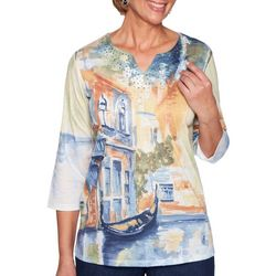 Alfred Dunner Petite Lake Tahoe Scenic Embellished Top