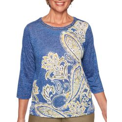 Alfred Dunner Petite Lake Tahoe Paisley Print Braid Neck Top
