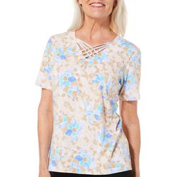 Alfred Dunner Petite Turtle Cove Mosaic Crisscross Top