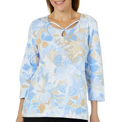 Alfred Dunner Petite Turtle Cove Floral Caged Neck Top