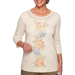 Alfred Dunner Petite Lake Tahoe Floral Embroidered Top