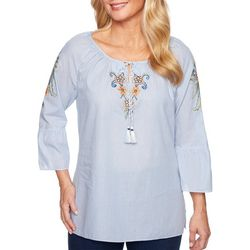Alfred Dunner Petite Lake Tahoe Embroidered Pinstripe Top
