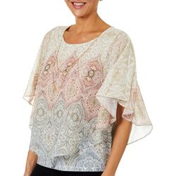 Alfred Dunner Petite Boardroom Medallion Print Top