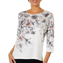 Alfred Dunner Petite Boardroom Floral Jeweled Neck Top