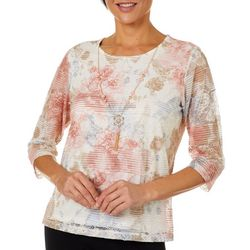 Alfred Dunner Petite Boardroom Floral Overlay Top