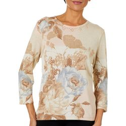 Alfred Dunner Petite Boardroom Floral Shimmer Jeweled Top