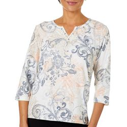 Alfred Dunner Petite Boardroom Scroll Print Top