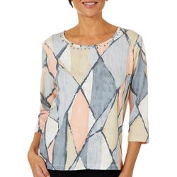 Alfred Dunner Petite Boardroom Geometric Embellished Top