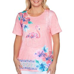 Alfred Dunner Petite Miami Beach Jeweled Flamingo Top