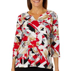 Alfred Dunner Petite Geometric Print Split Neck Top