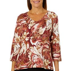 Alfred Dunner Petite Abstract Floral Print Top