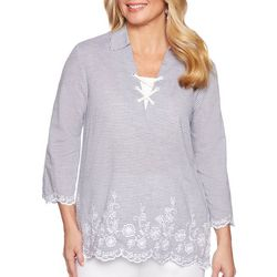Alfred Dunner Petite Smooth Sailing Embroidered Lace-Up Top