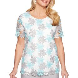 Alfred Dunner Petite Versailles Lace Floral Top