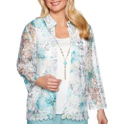 Alfred Dunner Petite Versailles Floral Lace Duet Top