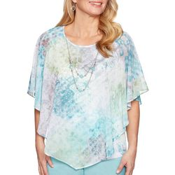 Alfred Dunner Petite Versailles Floral Scroll Ruffle Top