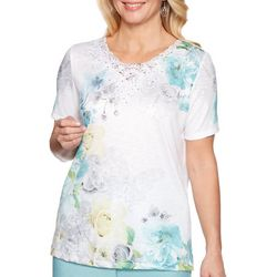 Alfred Dunner Petite Versailles Floral Butterfly Top