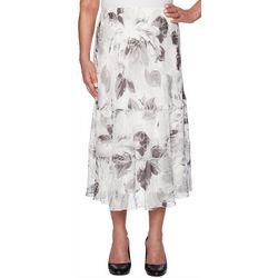 Alfred Dunner Petite Versailles Ruffled Floral Skirt