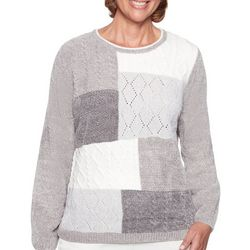 Alfred Dunner Petite Chenille Embroidered Sweater