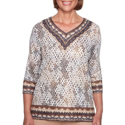 Alfred Dunner Petite Python Border Top