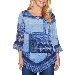 Alfred Dunner Petite Autumn Harvest Patchwork Print Top