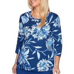 Alfred Dunner Petite Sapphire Skies Braided Neck Top