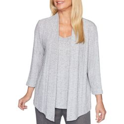 Alfred Dunner Womens Sapphire Skies Embellished Duet Top