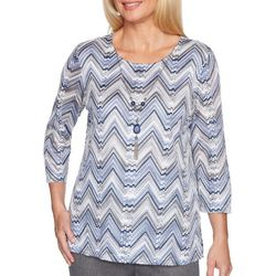 Alfred Dunner Petite Sapphire Skies Chevron Knit Top