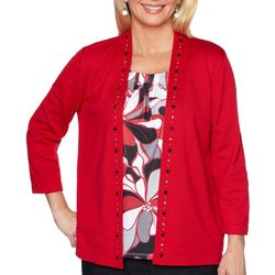 Alfred Dunner Petite Well Red Stained Glass Print Duet Top